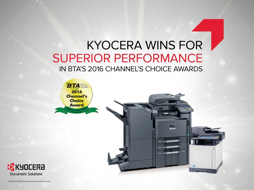 Kyocera wins for superior performace at BTA Channels Choice Awards 2016